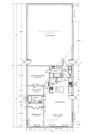 shop plans and designs 2 bedroom 2 bath barndominium floor plan for 30 foot wide building
