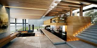 modern wood and concrete interior interior design ideas