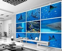 popular shark wall murals buy cheap shark wall murals lots from 3d stereoscopic wallpaper shark underwater world of tropical fish 3d wall murals wallpaper painting wallpaper