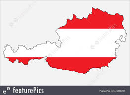 Austria Flag Picture Of Outline Map Of Austria With Austrian Flag