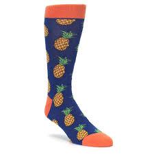 navy orange pineapple fruits s dress socks socksmith