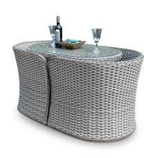 Grey Bistro Table Hartland Compact Rattan Bistro Garden Furniture Set Whitewash