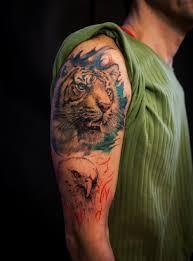 shoulder colour tiger portrait chronic ink