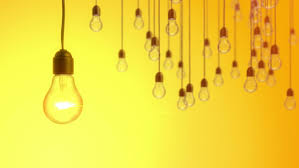 idea concept with light bulbs on yellow background stock footage
