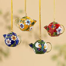cloisonné teapot ornaments set of 4 teapot decorating and house
