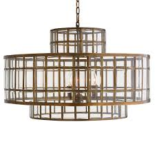 Brass Ceiling Lights Nadet Classic Antique Brass Triple Cylinder Pendant Kathy Kuo Home