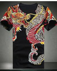 dragon t shirt drilling design chinese style tattoo t shirts