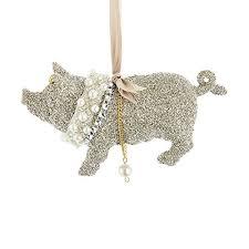 kurt adler vintage glamour platinum glass glitter pig ornament