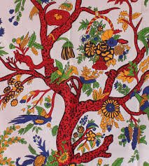 hanging floral print with tree of tapestry