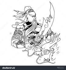 attractive black outline samurai with sword tattoo design