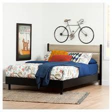 morice mid century platform bed with headboard queen black