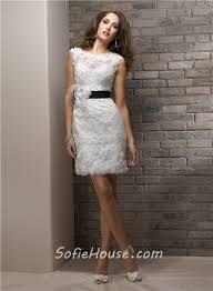 casual sheath bateau short lace beach wedding dress with black