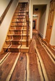 beautiful wooden stairs with the wood inlaid into the construction
