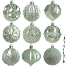 home accents 80 mm assortment ornament in silver 75 count