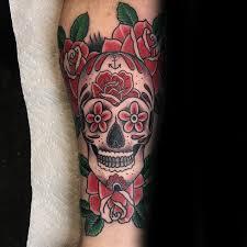 Forearm Skull - inner forearm flower sugar skull for guys tat ideas