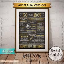 1967 birthday poster australia 1967 50th birthday gift back