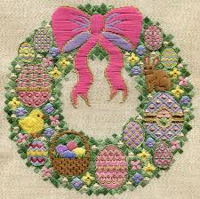springtime wreaths springtime wreath by laura j perin needlepoint pinterest