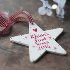 Personalised Baby S First Christmas Decoration by Personalised Baby U0027s First Christmas Star By Inkpaintpaper