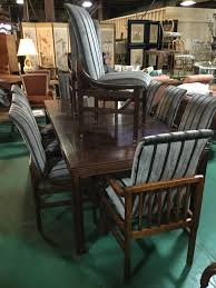 ca 1970s henredon dining set in walnut parquetry top on dining