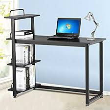 Desktop Computer Desk Amazon Com Tangkula Computer Desk Compact Desk With 4 Shelves