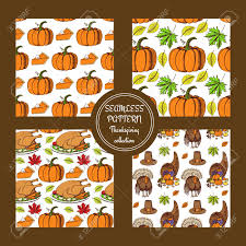 sketch thanksgiving patterns in vintage style vector set royalty