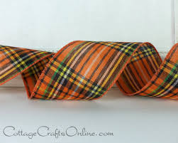 halloween wired ribbon plaid 2 1 2 wide orange