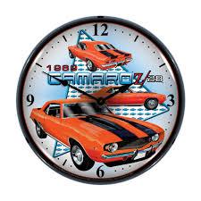 Funky Wall Clocks 1969 Chevy Camaro Z28 Light Up Clock Chevrolet Wall Clocks