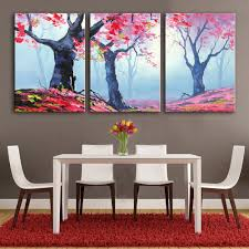lovely cartoon rabbit canvas art print painting poster wall free shipping hand painting oil painting red leaves of trees decoration painting set of 3 home