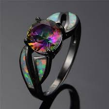 black opal engagement rings charming white opal ring colorful sappjire men women rainbow
