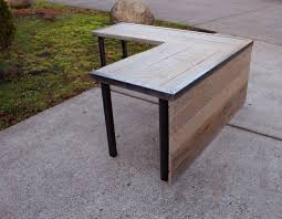 l shaped industrial desk with front panel and steel legs mt hood