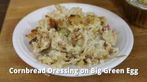 thanksgiving turkey big green egg cornbread dressing on big green egg smoked cornbread dressing