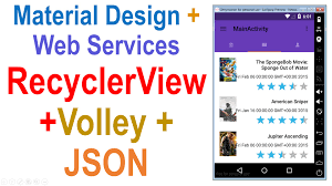 android json 250 android web service tutorial recyclerview volley json