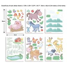 Farm Animal Wall Stickers Walltastic Multi Color My First Jcb Wall Stickers Wt43152 The