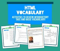 high school web design class html vocabulary activity packet vocabulary activities