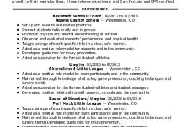 Sports Resume Examples by Sport Softball Resume Reentrycorps