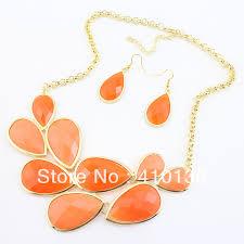 gold orange necklace images Pn12375 fashion jewelry set orange color bib necklace set new jpg