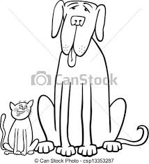 vector cat dog cartoon coloring book black white