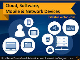 it icons cloud software mobile u0026 network devices flat ppt