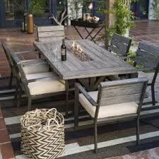 Outdoor Patio Table And Chairs Belham Living Silba 7 Envirostone Pit Patio Dining Set