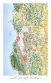 san francisco map painting san francisco bay area land cover map print
