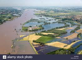 netherlands dodewaard waal river flood plains flooded land