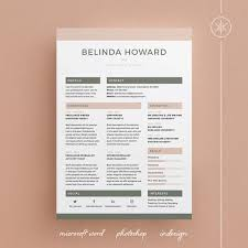 Resume Template With Cover Letter Belinda Resume Cv Template Cover Letter Word Photoshop