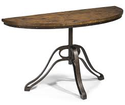 wood and iron sofa table small demilune hall console table with reclaimed wood top and