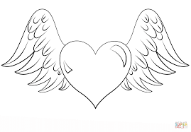 coloring pages of hearts with wings funycoloring