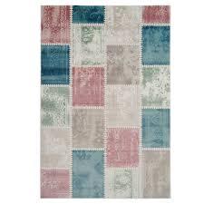Wohnzimmer Modern Vintage Patchwork Teppich Inspiration Stamp Pastellfarben Kurzflor