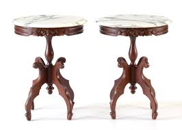 victorian marble top end table pair of reproduction victorian marble top accent tables ebth marble