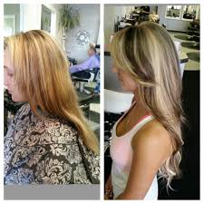 hot heads hair extensions before and after photo of multi dimensional color and hotheads