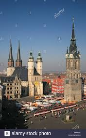 market church red tower and chateau in halle saale germany