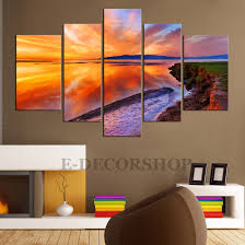 Home Art Decor by Large Canvas Wall Art Sunset 5 Piece Canvas Art Print For Home