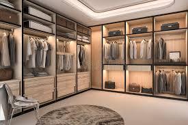 walk in closet furniture 3d rendering minimal loft luxury wood walk in closet with wardrobe